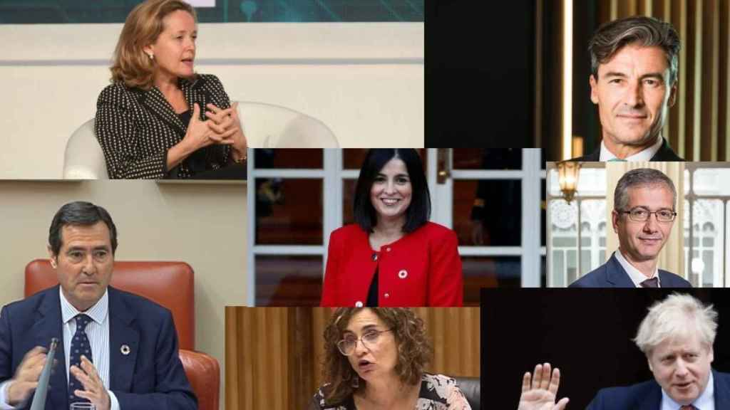 Nadia Calviño, Federico Linares, Antonio Garamendi, Carolina Darias, Pablo Hernández de Cos, María Jesús Montero y Boris Johnson.