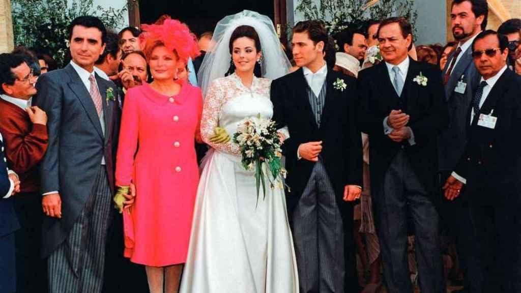 Ortega Cano, Rocío Jurado, Rocío Carrasco, Antonio David Flores y Pedro Carrasco en la gran boda que hoy cumple 25 años.