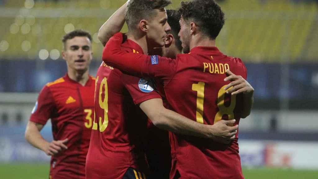 Los jugadores de la selección española sub21 celebran un gol durante el Europeo de 2021