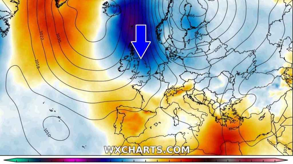 Las bajas temperaturas descendiendo hacia el sur de Europa en la primera semana de abril. Severe-Weather.eu
