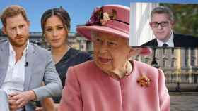 Harry y Meghan junto a la reina Isabel II y su nuevo asesor, Andrew Parker, en montaje de JALEOS.
