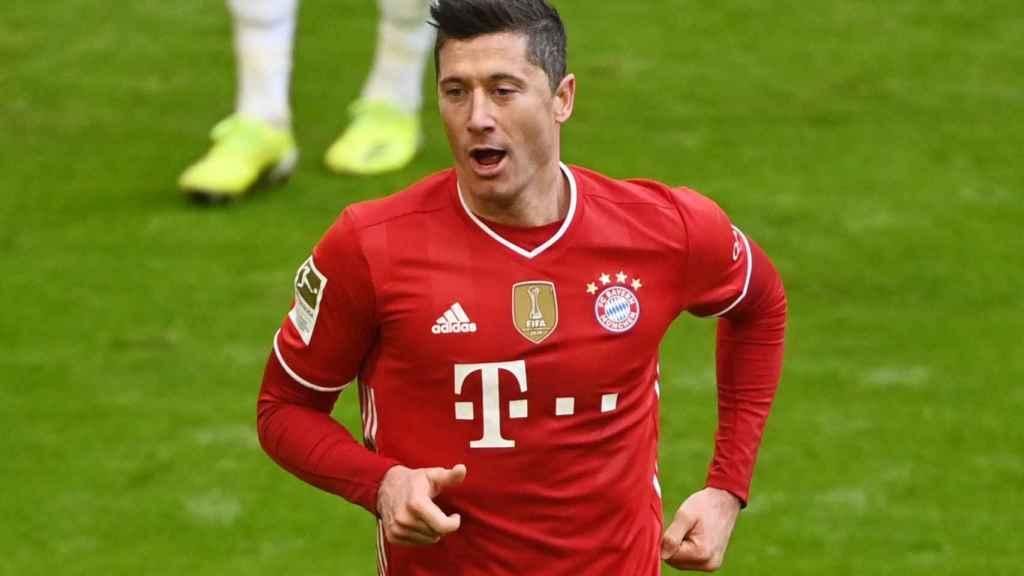 Robert Lewandowski, en un partido del Bayern Múnich de la temporada 2020/2021