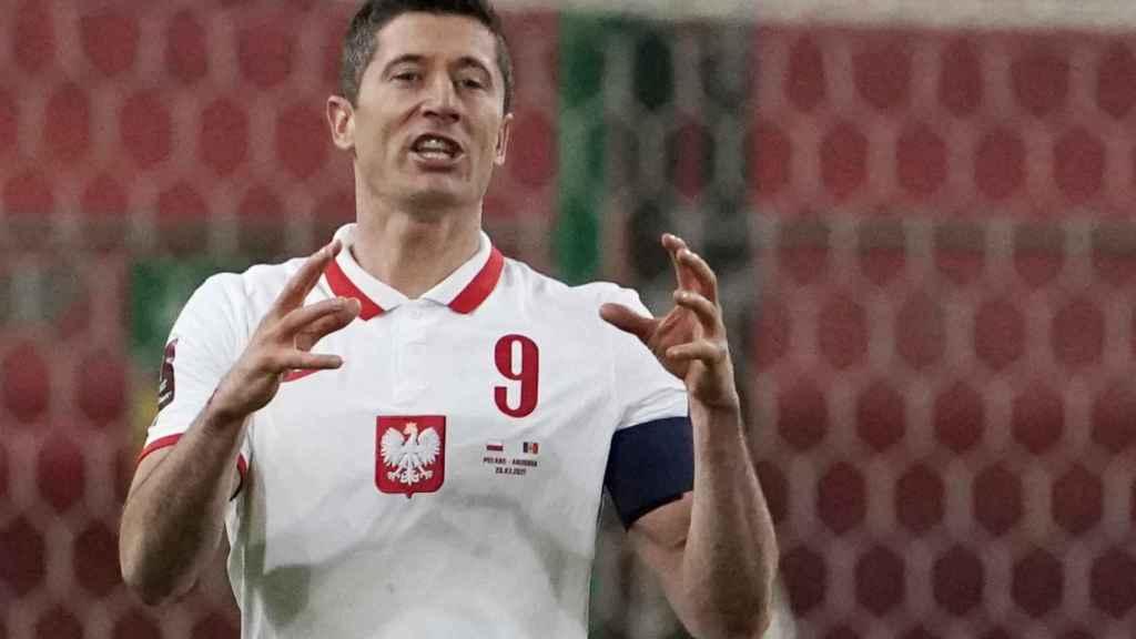 Robert Lewandowski, con la selección de Polonia