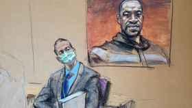 Un dibujo del juicio de George Floyd.