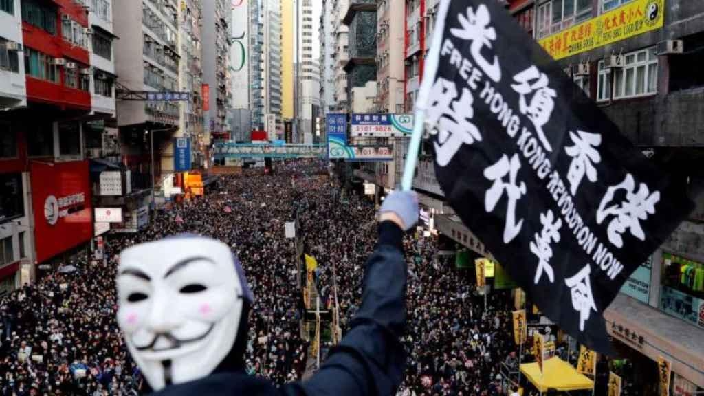 Una de las multitudinarias protestas pro-democracia en Hong-Kong.