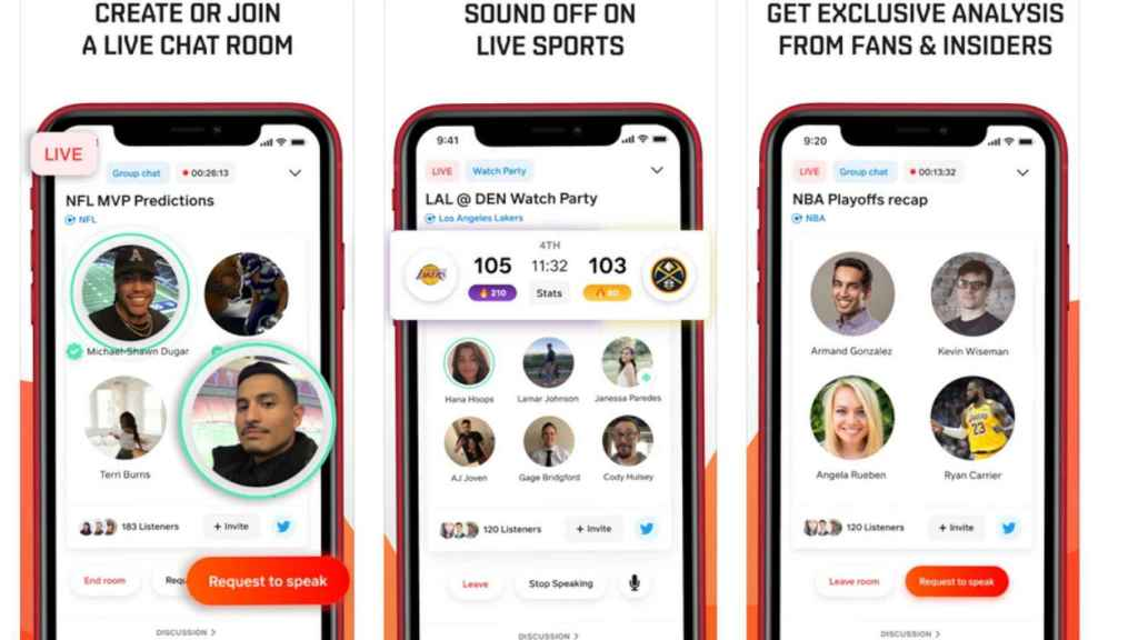 La app de Locker Room permite crear salas de audio