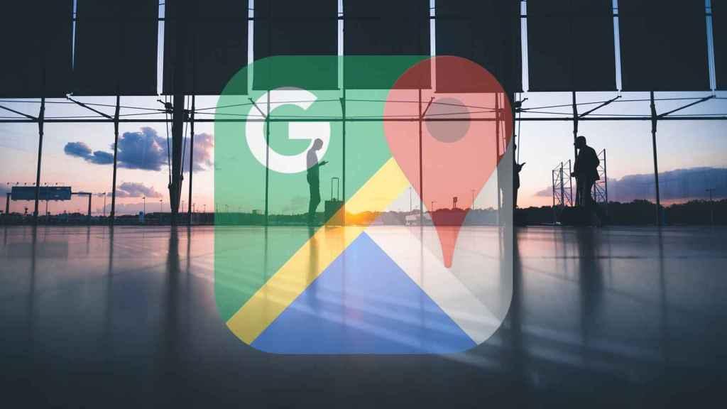Logo de Google Maps en un aeropuerto.