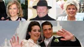 Amador Mohedano, Teresa Campos,  Terelu Campos y Rocío Carrasco con Antonio David como novios en un montaje de Jaleos.