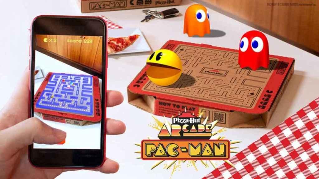 Pac-Man en la caja de Pizza Hut