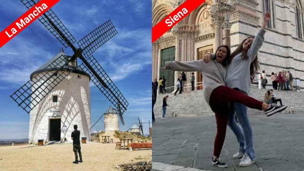 A la izquierda Ayna, un municipio de la sierra de Albacete con 591 habitantes y, a la derecha, dos estudiantes de Erasmus en Italia.