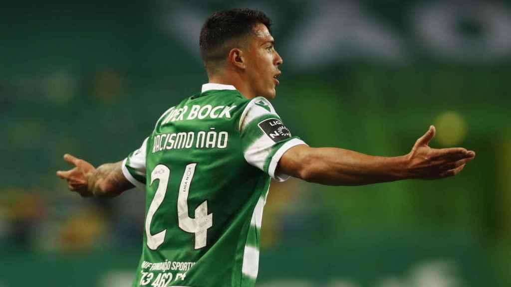 Pedro Porro, en un partido del Sporting de Portugal