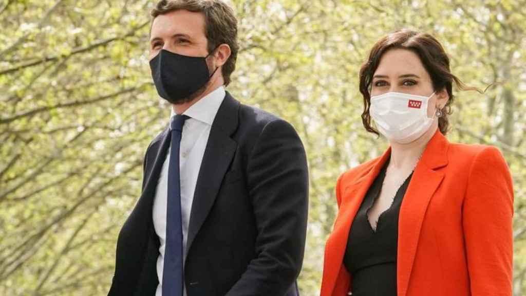 El presidente del PP, Pablo Casado, y la presidenta de Madrid en funciones, Isabel Díaz Ayuso.