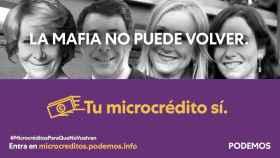 Campaña de microcréditos de Podemos para las elecciones del 4-M en Madrid.