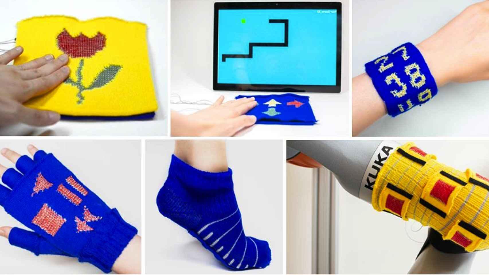 Ejemplos de aplicaciones de KnitUI: juguetes interactivos, controlador de juegos, muñequera con teclado numérico, guante controlador de música, calcetín sensible al tacto y piel táctil (de izquierda a derecha, de arriba a abajo).
