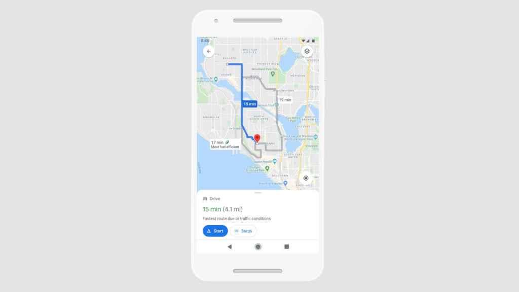 Google Maps también nos permitira escoger la ruta más rápida