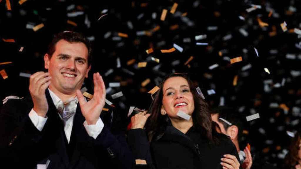 Albert Rivera e Inés Arrimadas celebran la victoria de Ciudadanos en Cataluña en 2018.