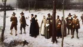 Peregrinos van a la iglesia, de George Henry Boughton (1867).