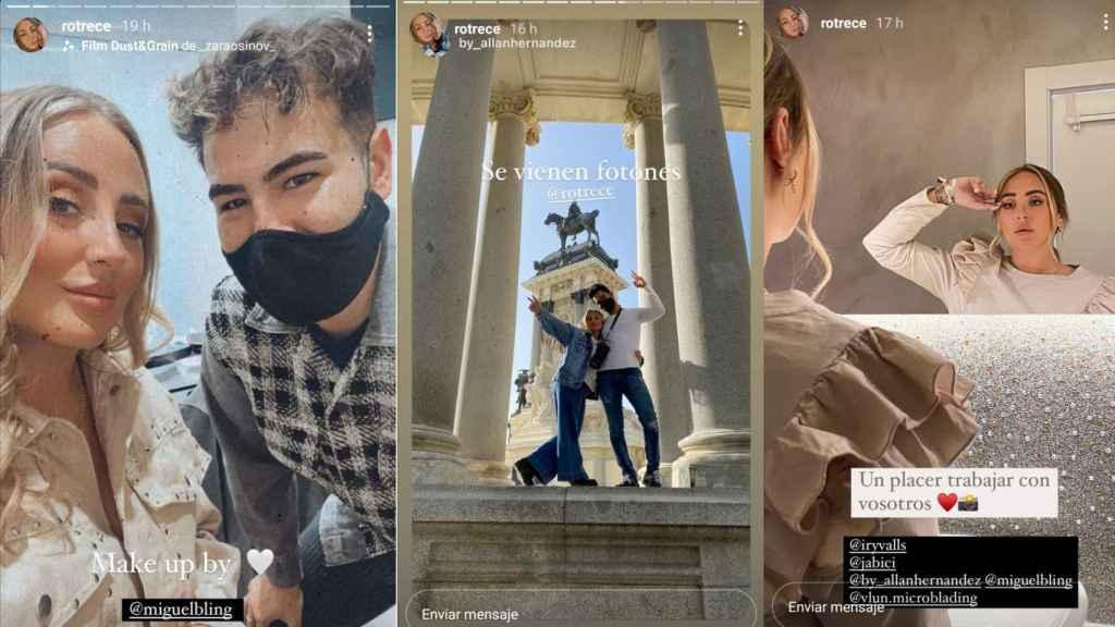 Montaje con varios de los 'stories' colgados por Rocío correspondientes a la sesión de fotos.