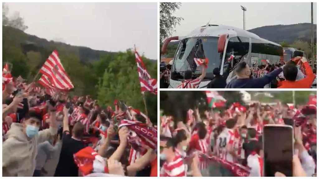 Miles de aficionados del Athletic se concentran en Lezama