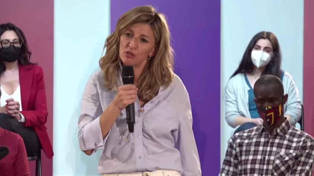 Yolanda Díaz, vicepresidenta tercera del Gobierno, en la presentación de la candidatura de Pablo Iglesias a la Comunidad de Madrid.