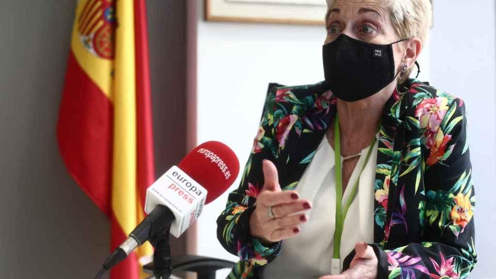 La jueza, María Tardón, durante una entrevista para Europa Press en la Audiencia Nacional, en Madrid.