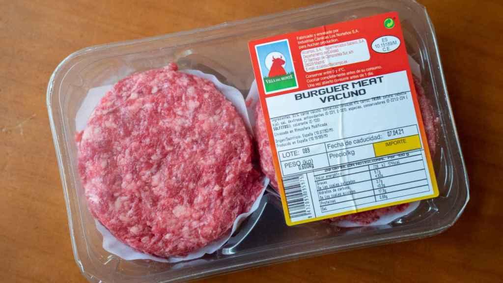 El paquete de hamburguesas de Alcampo.