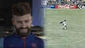 Gerard Piqué y el momento en el que Alberto Lora le roba el balón en el torneo de Brunete