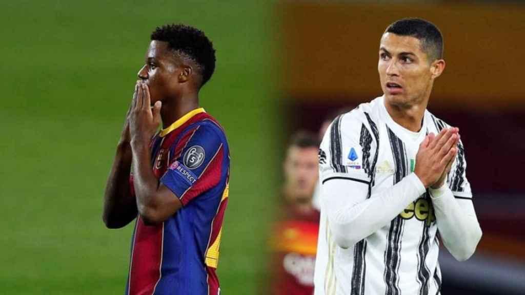 Ansu Fati y Cristiano Ronaldo, en un fotomontaje