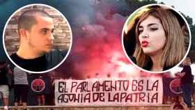 Rodrigo, uno de los autores del escrache a Iglesias, e Isabel Peralta, nueva líder de la ultraderecha española.