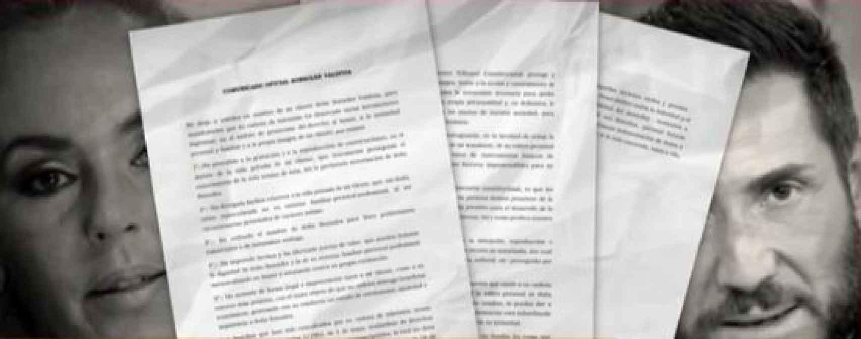Las tres páginas de comunicado que ha enviado Sonsoles a 'Socialité'.