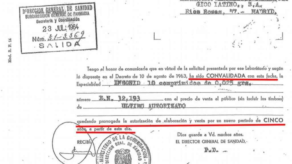 La Dirección General de Sanidad autorizando en 1964 la producción y distribución de un fármaco con talidomida.