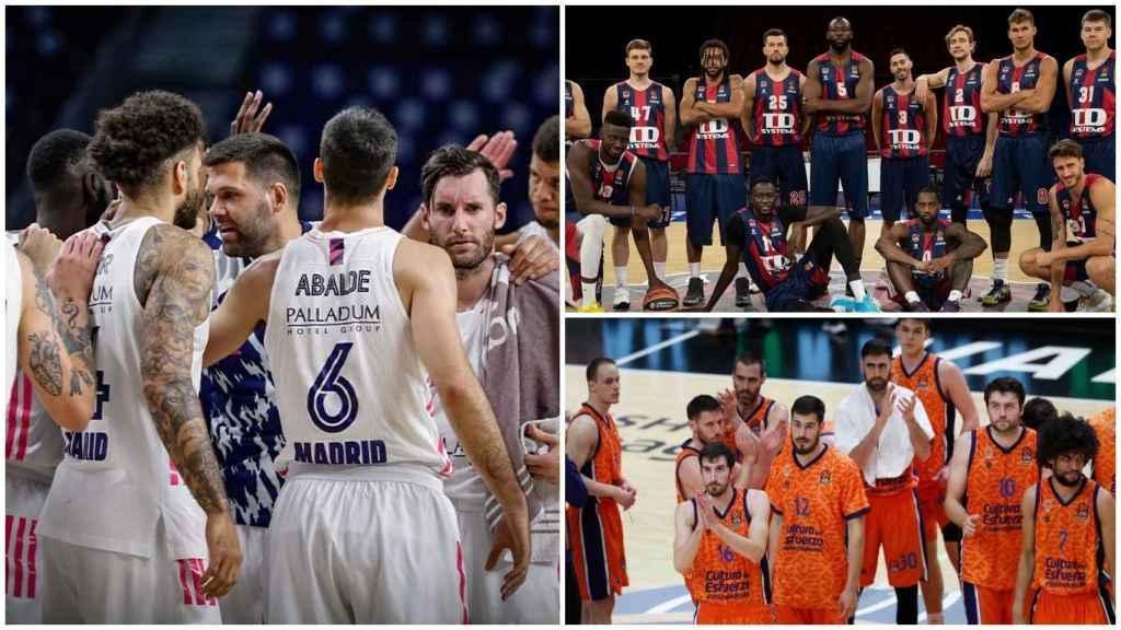 Real Madrid, Baskonia y Valencia Basket