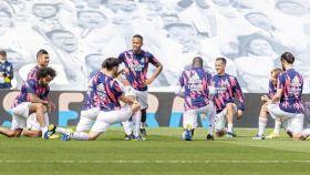 Calentamiento de los jugadores del Real Madrid