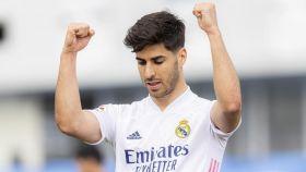 Marco Asensio celebra un gol con el Real Madrid en La Liga