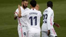 Marco Asensio celebra su gol al Eibar