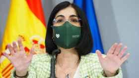 La ministra de Sanidad, Carolina Darias, en rueda de prensa.