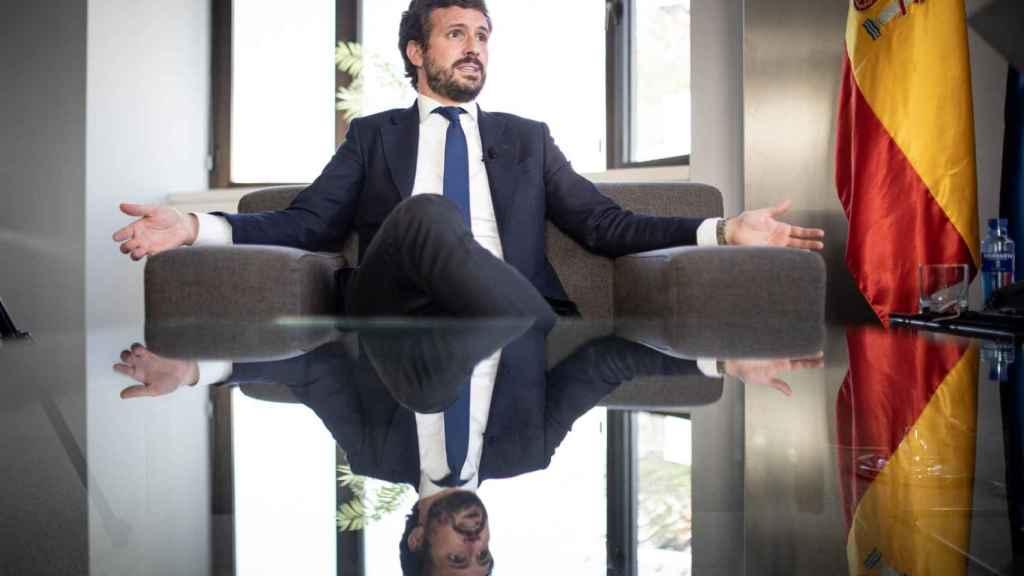 El presidente del PP, Pablo Casado, este miércoles en su despacho de Génova.