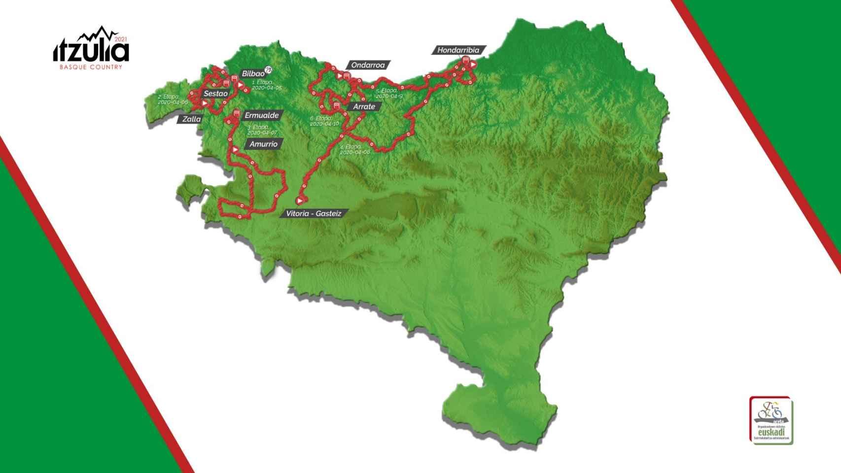 El recorrido de la Itzulia Basque Country 2021, la Vuelta al País Vasco