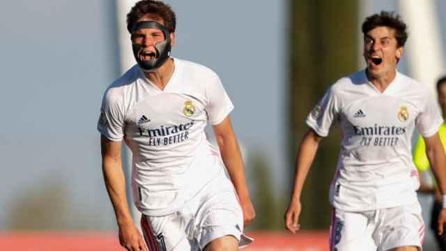 Latasa celebra un gol con el Real Madrid Castilla
