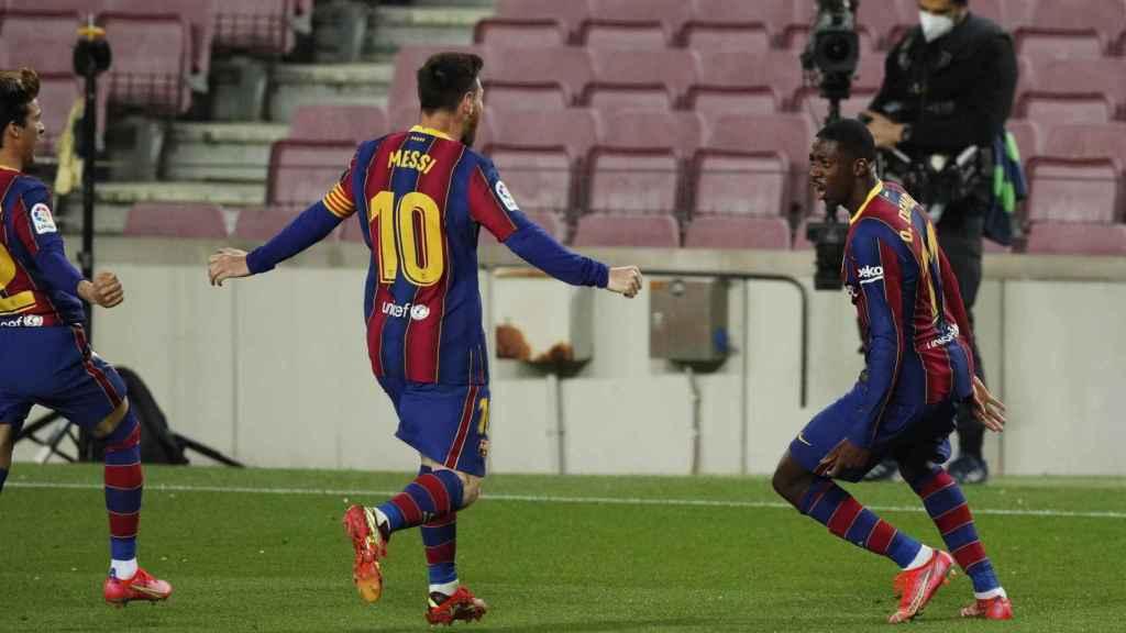 Celebración de Ousmane Dembélé por su gol en el Barcelona - Valladolid
