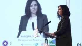 La presidenta de la Comunidad de Madrid, Isabel Díaz Ayuso, este lunes en el Desayuno Informativo de Europa Press.