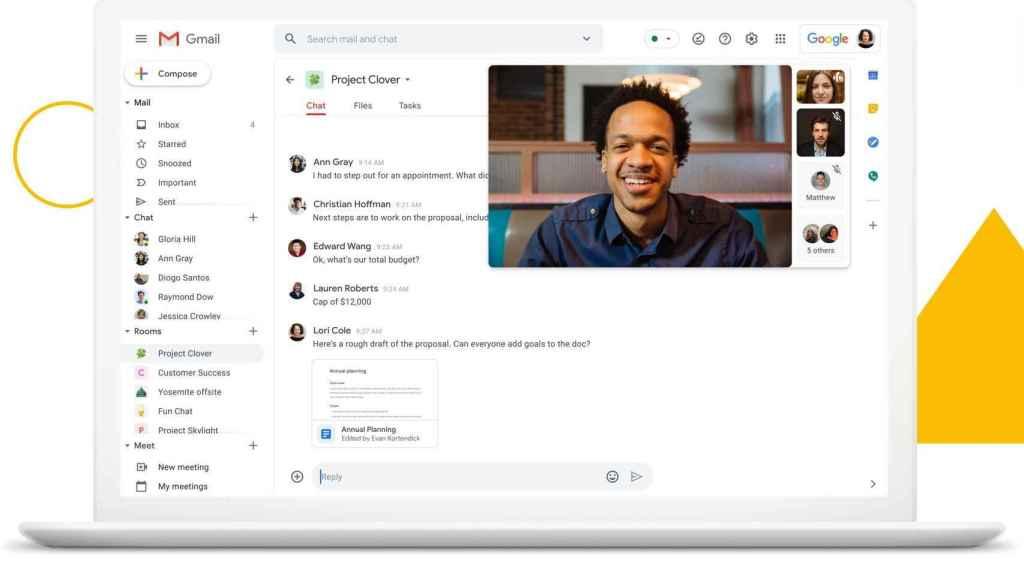 El nuevo Gmail tiene Google Chat y Google Meet integrados