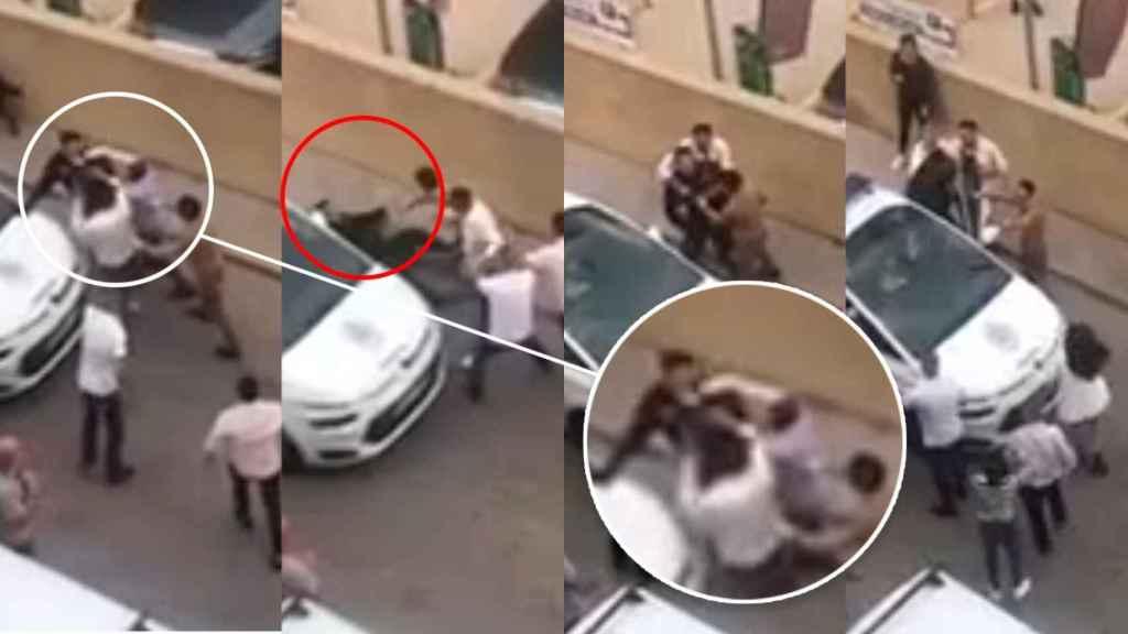 El agresor pega un puñetazo al agente, que cae al suelo y es introducido en el coche por los familiares.