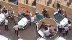 Secuencia de la agresión a los agentes en Capdepera (Mallorca), con uno de ellos cayendo al suelo.
