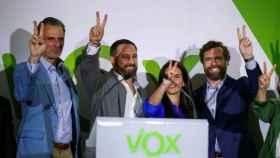 Los dirigentes de Vox (i-d) Javier Ortega Smith, Santiago Abascal, Rocío Monasterio e Iván Espinosa de los Monteros. Efe