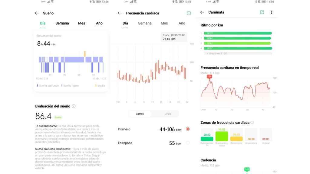 Aplicación seguimiento actividad física del Oppo Watch 46mm