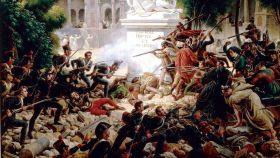 Asalto de las tropas francesas al monasterio de Santa Engracia el 8 de febrero de 1809.