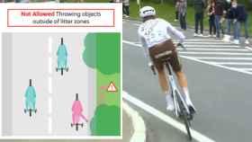 La explicación de UCI de la nueva norma de no tirar bidones en carrera y la acción de Michael Schar en el Tour de Flandes, en un fotomontaje