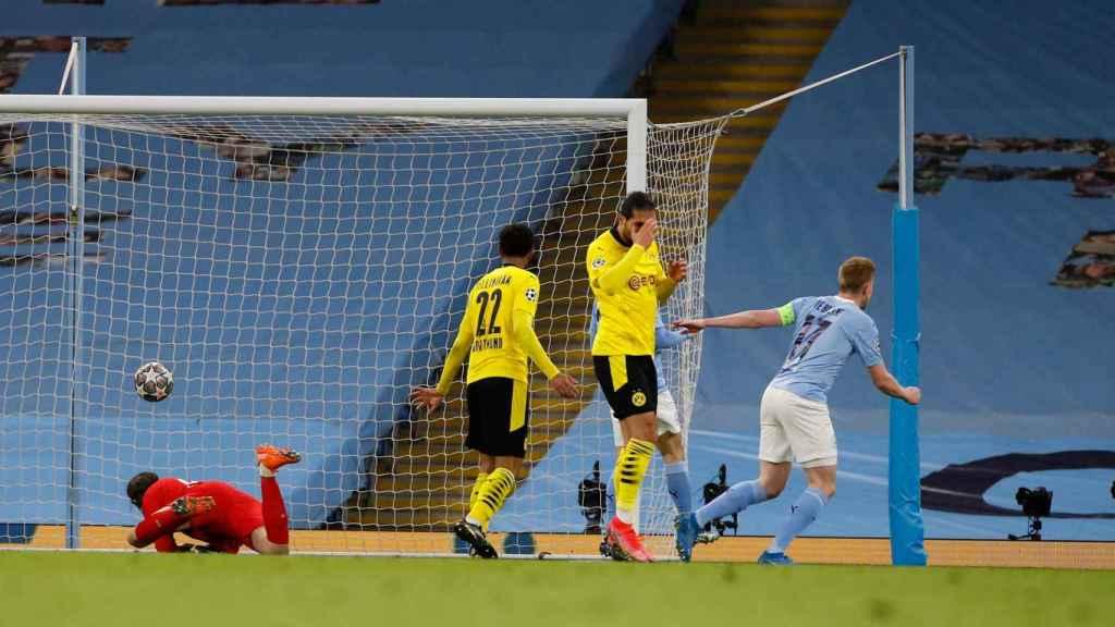 De Bruyne celebra su gol en el Manchester City - Dortmund