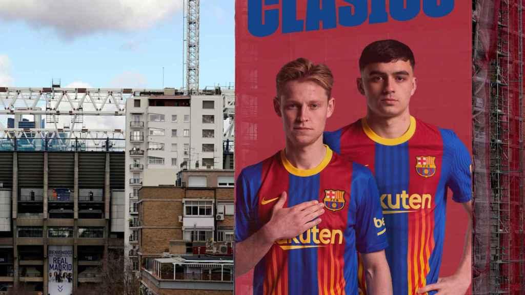 La pancarta que el Barça ha publicitado en sus redes sociales para calentar El Clásico. Foto: Twitter (@FCBarcelona)